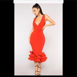 Fashion nova red cocktail dress!W/ruffle tail!Sexy